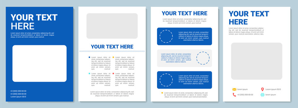 Blue and white brochure template design. Minimal business flyer, booklet, leaflet print, cover design with text space. Vector layouts for magazines, annual reports, advertising posters