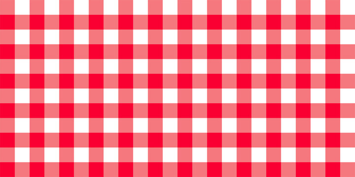 Checkered vector background. Square plaid seamless pattern. Geometric red white stripe texture. Vector illustration.