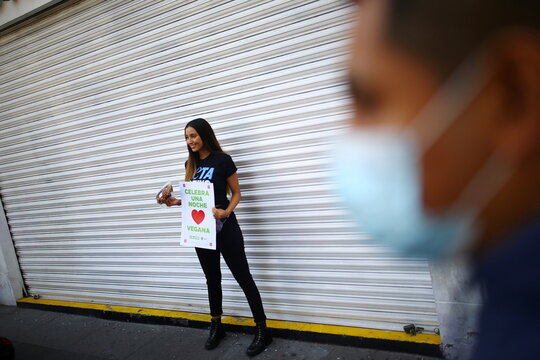 Mexican actress and activist Sofia Sisniega poses for a photo as she gives dinners to promote vegan meals during the Christmas celebrations in downtown Mexico City