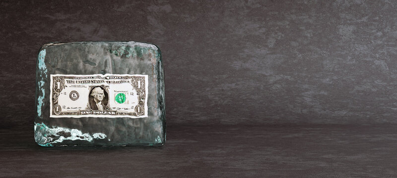 One dollar bill frozen in ice cube, frozen money and bad investment concept, 3D Render, 3D Illustration