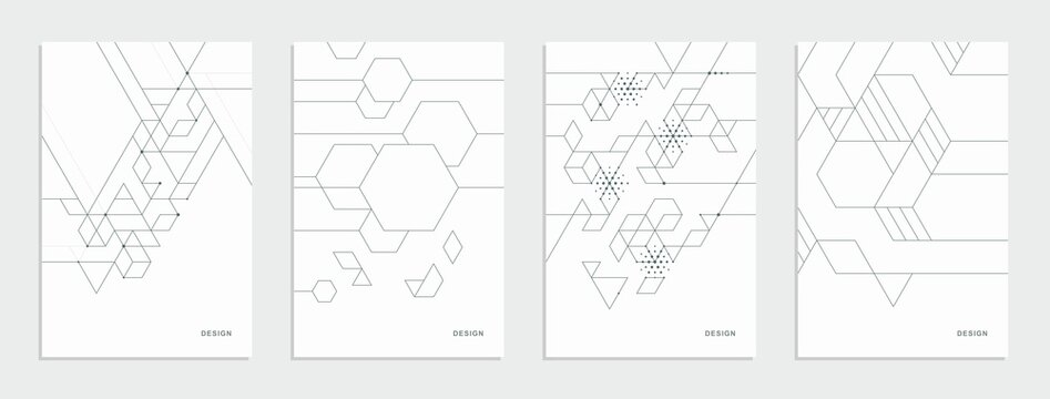 Abstract geometric company brochure. Corporate identity flyer. Vector set business presentation.