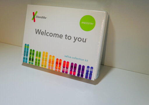 Wilmington, Delaware, U.S - January 29, 2019 - The saliva collection kit for ancestry testing by 23andMe