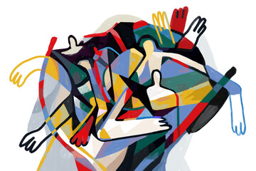 Obraz Colorful abstract art print cubism art style, Abstract People with primary color. For print and wall art. Picasso and Keith Haring style. - fototapety do salonu
