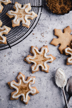 Snowflake sugar cookies with icing.