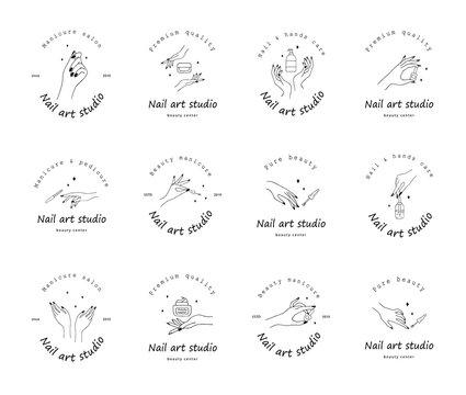 Nail art studio logo set. Modern design for beauty center, spa salon, manicure and pedicure bar. Linear vector illustration.