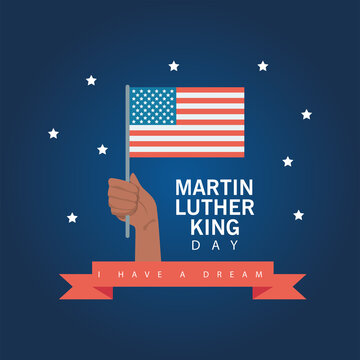 martin luther king day lettering with hand lifting usa flag