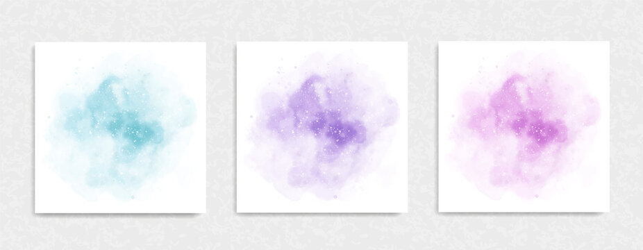 Set of Soft Pastel Watercolor Background