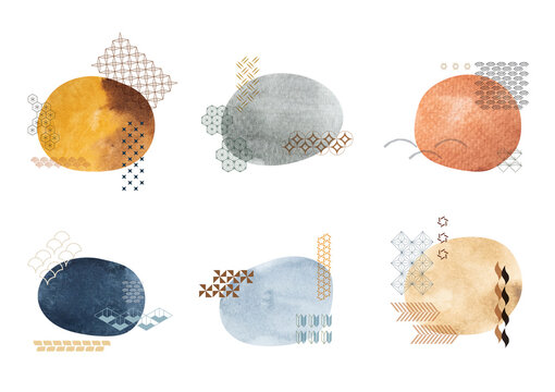 Set of brush stroke elements vector. Asian icons with Japanese pattern. Abstract banners with flowing liquid shapes. Template for logo design with watercolor texture decoration.