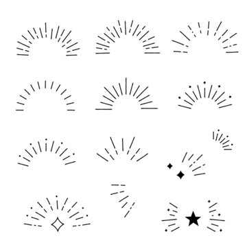 Hand drawn style sunburst frame set, Vector design elements