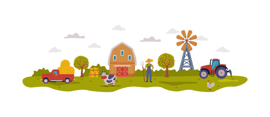 Farm Scene with Barn, Male Farmer, Agricultural Transport and Livestock, Summer Rural Landscape, Agriculture, Gardening and Farming Concept Cartoon Style Vector Illustration