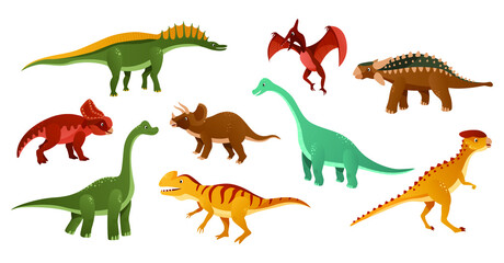 Colorful dinosaurs cartoon character illustration. Jurassic dinosaurs are depicted on a white background. Vector illustration