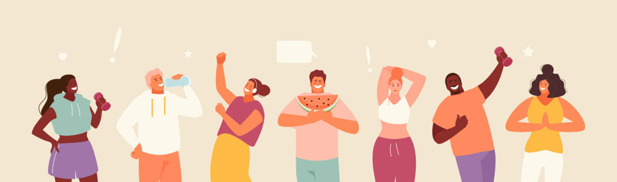 People healthy lifestyle concept. Good habits. Sport, proper nutrition, positive vector illustration