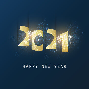 Best Wishes - Abstract Dark Golden Modern Style Happy New Year Greeting Card or Background, Creative Design Template - 2021