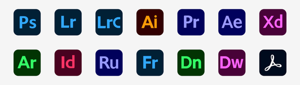Adobe product. Photoshop, Illustrator, Premier, After Effects. Adobe rush and xd. Adobe icons. Set of graphic products. Rivne, Ukraine - December 23, 2020.