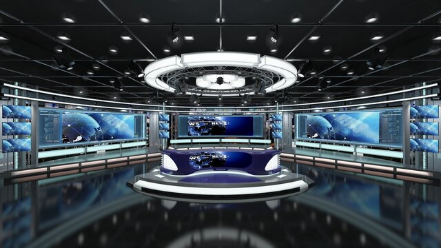 Virtual TV Studio News Set 1.2-1 Green screen background. 3d Rendering. Virtual set studio for chroma footage. wherever you want it, With a simple setup, a few square feet of space, and Virtual Set