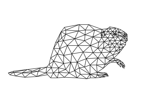 Isolated beaver in low poly style on white background. Polygonal illustration of a rodent composed of triangles. Geometric design for logo, for printing on clothes or poster. Symbol of Canada. Vector.