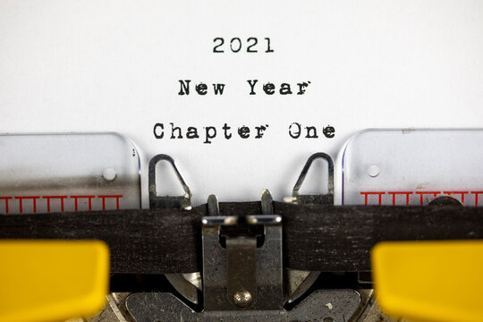 Old typewriter with text 2021 New Year Chapter One