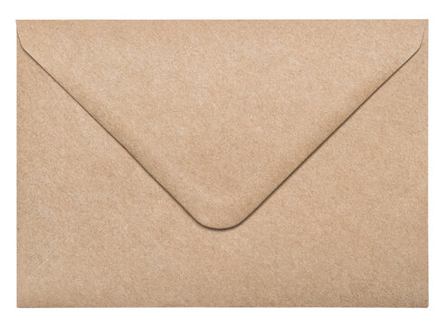 Recycled craft paper envelope isolated white background