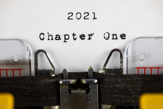 old typewriter with text 2021 chapter one