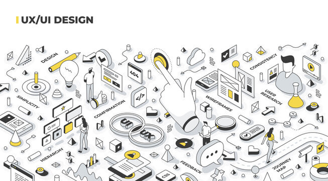UX, UI design isometric illustration. Building user experience roadmap, planning user interaction with the interface