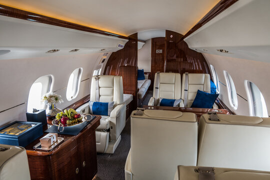 inside a luxury business jet with delicious food prepared for the VIP passengers