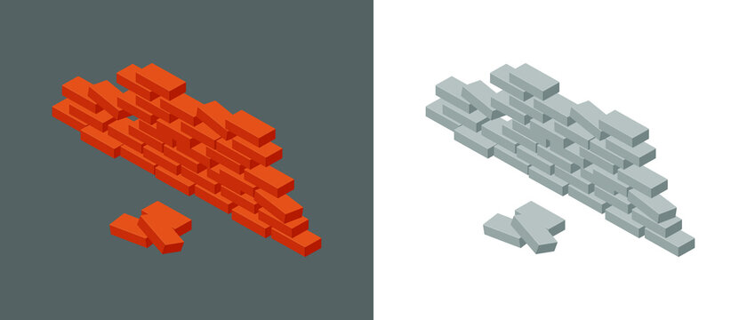 Set of old brick walls with a hole. Isometric vector illustration icon of broken red brick barrier. Cracked  gray brick wall isolated on white background. Pile of bricks icon. 3D. Vector illustration