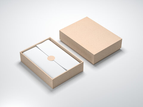 Cardboard Box Mockup with white wrapping paper opened light background