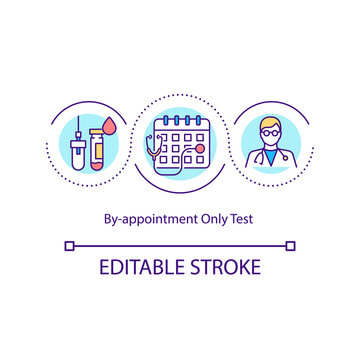 By appointment only test concept icon. Going to medical facility when doctor says. Curing strong diseases idea thin line illustration. Vector isolated outline RGB color drawing. Editable stroke