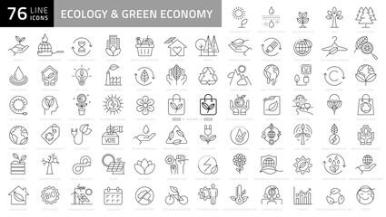 Vector Ecology and Green Energy Power Line Outline Icon Set. Pixel Perfect Editable Stroke