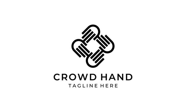 crowd hand people community link connection logo design template