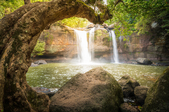Huaw Suwat waterfall in Khao yai national park Thailand traval water fall mountain