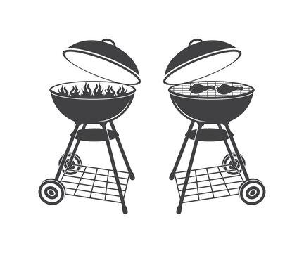 BBQ Grill with Fork Spatula, BBQ SVG , BBQ Clip art  design, BBQ Gril vector design