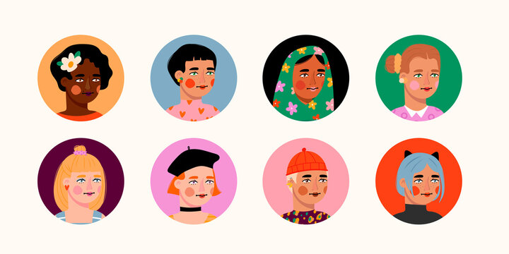 Different beauty. Set of various female heads. Round icons. Women avatars. Various races and nationalities. Colored hand drawn vector illustration. Various clothes and haircuts. Social media concept