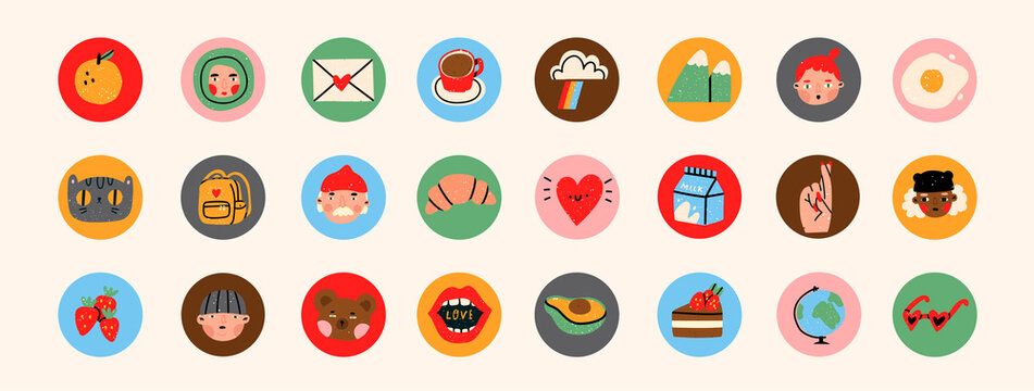Various people's faces, tasty food, travel, love, romance. Different Round Icons. Cute hand drawn trendy Vector illustrations. Cartoon style. Flat design. Social media stories or avatar template