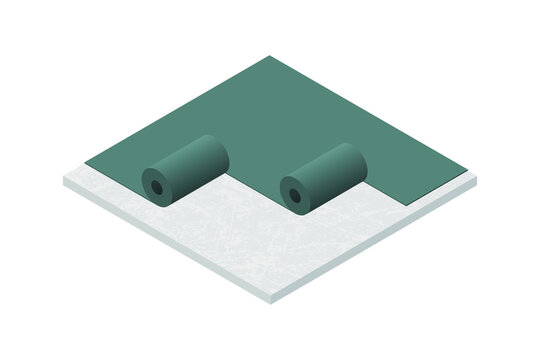 Vector illustration rubber roofing membrane, EPDM or roofing felt installation on low-slope building roof. Flat roof waterproofing with polymer bitumen mastic and ruberoid gradient insulation. Flat 3D