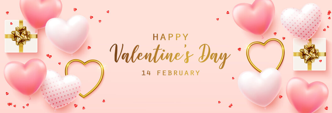 Happy Valentine's Day with calligraphy text. Horizontal banner for the website. Romantic background with realistic design elements, gift box, metal hearts, balloons in the shape of heart