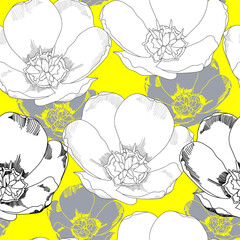 Seamless pattern with flowers. Hand drawn floral background. Artwork for textiles, fabrics, souvenirs, packaging and greeting cards.