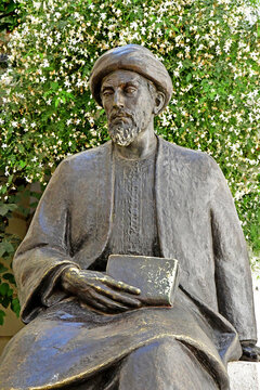 Cordoba; Spain - august 28 2019 : statue of Ben Maimonides