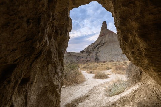 Castildetierra sandstone seen from a cave at Bardenas Reales, Navarre, Spain