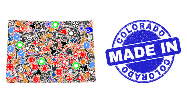Industrial mosaic Colorado State map and MADE IN distress stamp. Colorado State map mosaic formed with wrenches,wheels,instruments,,keys,airplanes,aircrafts,air planes,aviation symbols,power strikes,