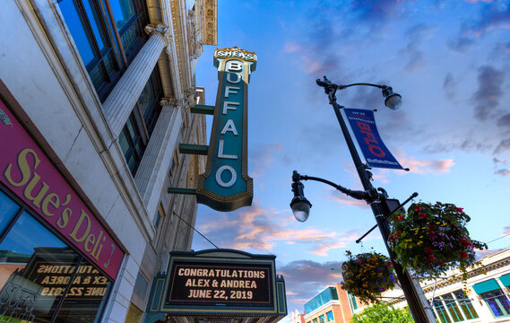 Buffalo, United States-April 14, 2020: Buffalo, NY, Famous Theater district in city downtown