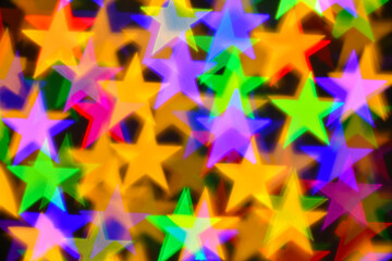 colorful stars illumination for holiday or abstract boke background