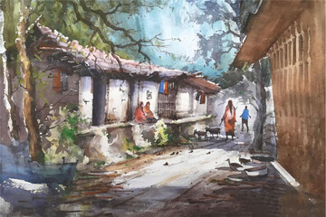 Watercolor village  house  with beautiful blue sky hand drawn illustration Wall mural