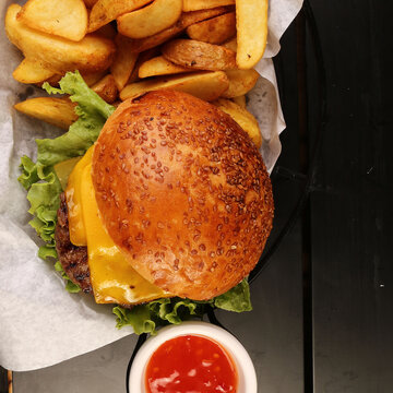 Home made hamburger with lettuce and cheese
