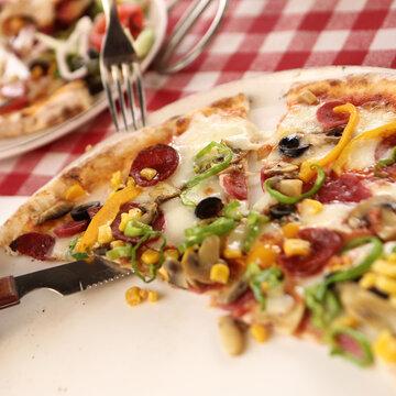 Delicious mixture pizza Italian food