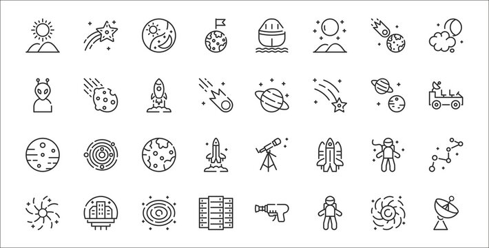 set of 32 space thin outline icons such as satellite dish, astronaut, big data, galaxy, astronaut, earth, moon rover, saturn, asteroid