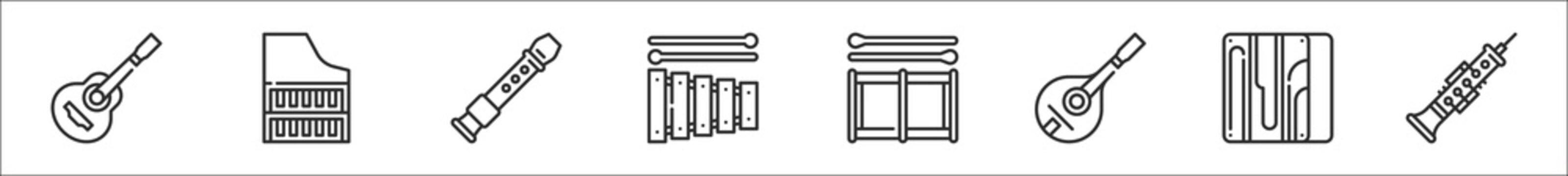 set of 8 music instruments thin outline icons such as spanish guitar, harpsichord, flute, xylophone, drum, mandolin, cajon, oboe