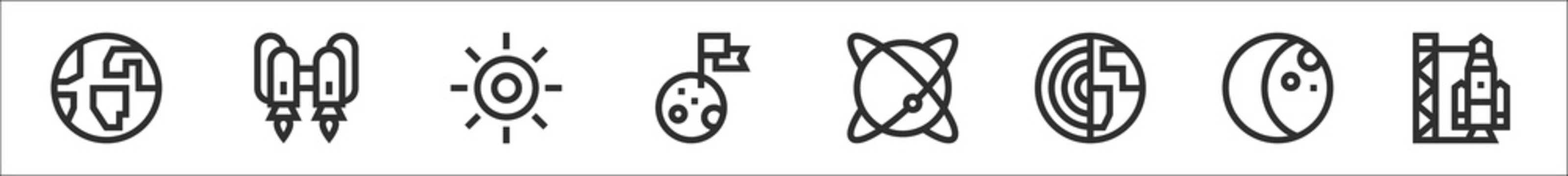 set of 8 space thin outline icons such as earth, jetpack, sun, moon landing, planet, earth, moon, rocket