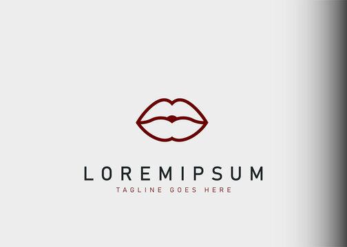 Lips logo design. Vector illustration of Minimalist lips icon design. Modern logo design with line art style.
