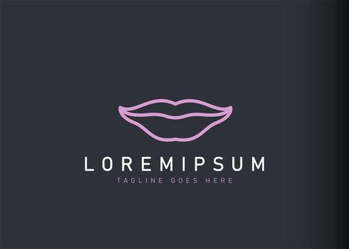 Lips logo design. Vector illustration of a faint smile icon design. Modern logo design with line art style.